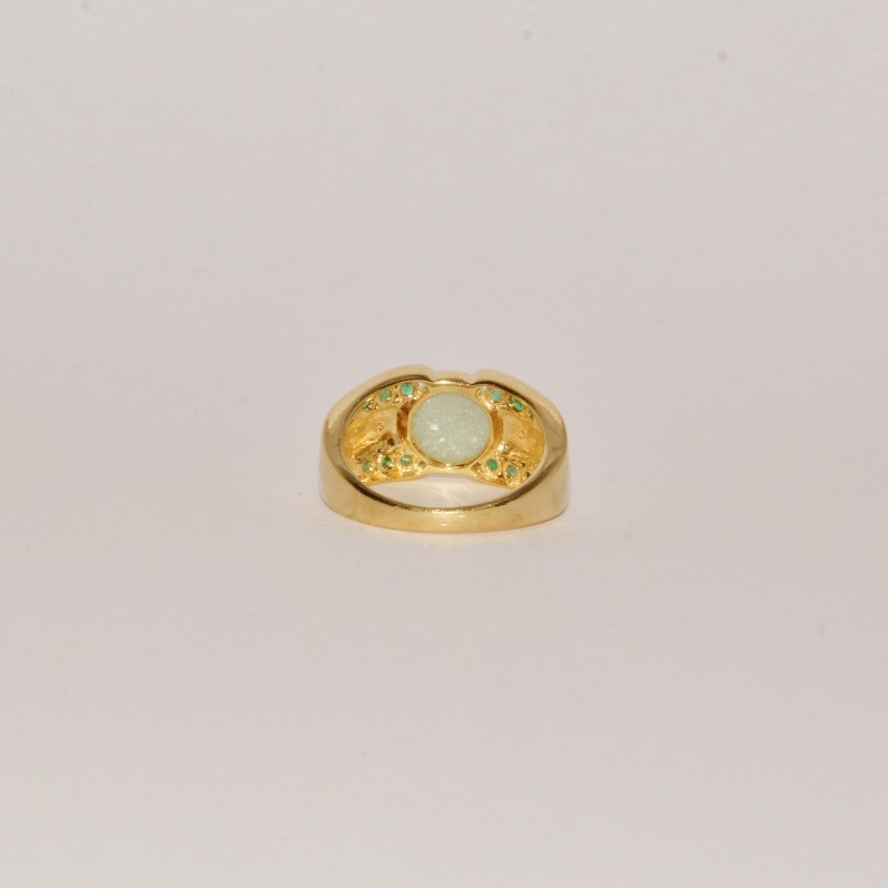 Jade Lady's Stone & Diamond Ring 2 Diamonds .02 Carat T.W. 14K Yellow Gold