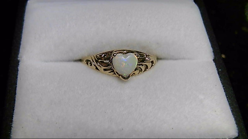 Heart Opal Lady's Stone Ring 10K Yellow Gold 1.65g Size:5.8
