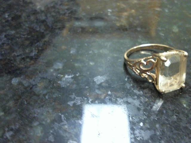 Yellow Stone Lady's Stone Ring 10K Yellow Gold 3.3dwt