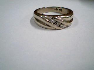 Gent's Gold-Diamond Wedding Band 3 Diamonds .12 Carat T.W. 10K Yellow Gold 5.1g