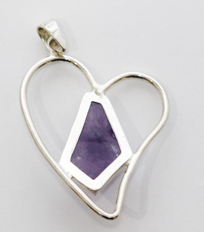 Sterling Silver Heart Silhouette Natural Amethyst Pendant