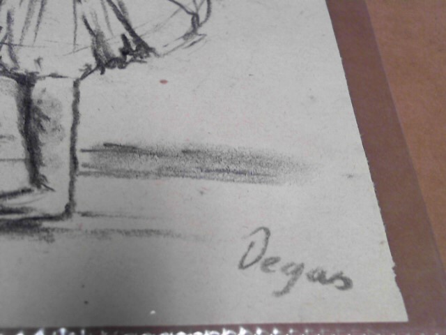 EDGAR DEGAS ORIGINAL CHARCOAL SKETCHING W AUTHENTICY CERTIFICATE