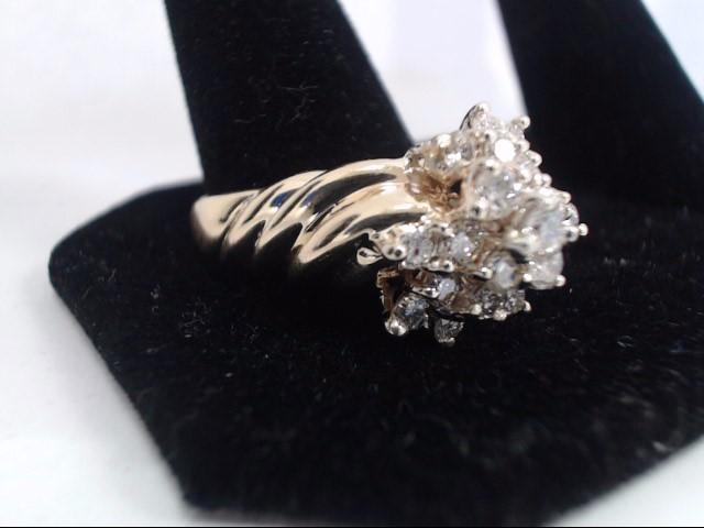 Lady's Diamond Cluster Ring 17 Diamonds 1.44 Carat T.W. 14K Yellow Gold 7.5g