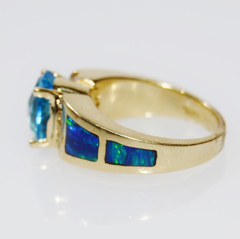 14K Yellow Gold Oval Blue Topaz & Diamond w/ Inlaid Austrailian Opal Ring sz 6