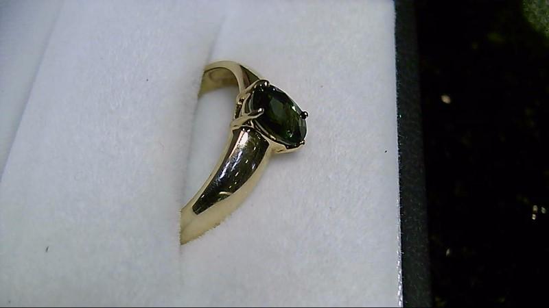 Green Topaz Lady's Stone Ring 14K Yellow Gold 2.24g