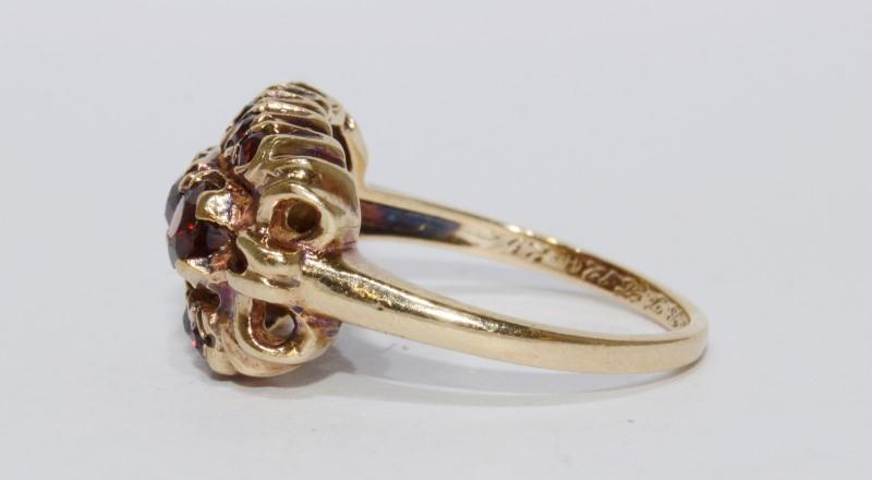 10K Yellow Gold Vintage Inspired Garnet Cluster Ring Size 7.75
