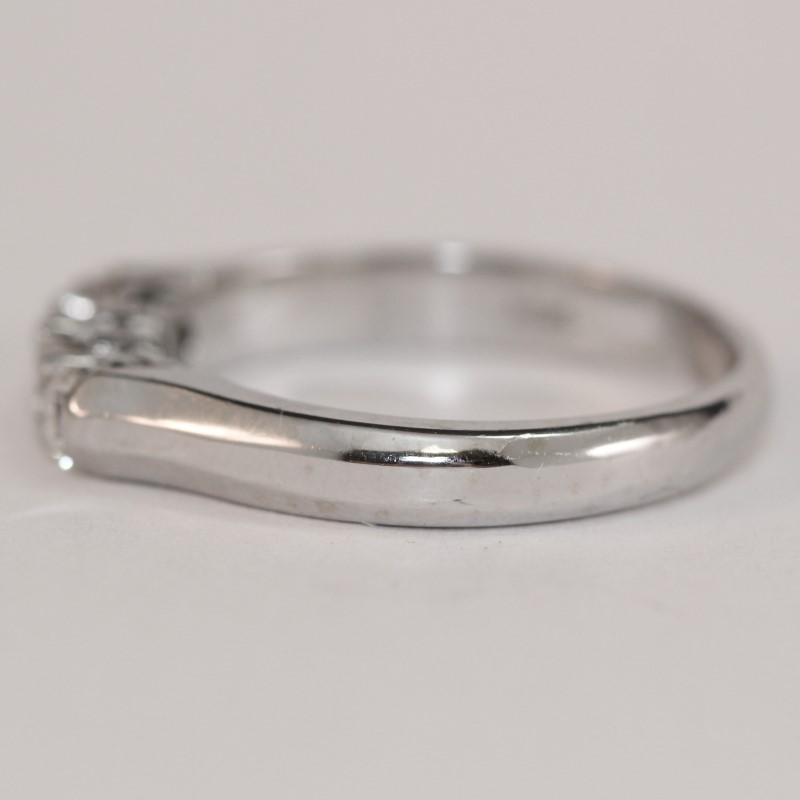 14k White Gold Knife Edge Bead Set Diamond Anniversary Ring Size7.75