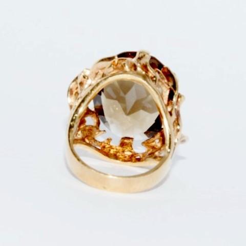 10K Yellow Gold Vintage Inspired Ornate Vine Work Smokey Topaz Cocktail Ring 6.5