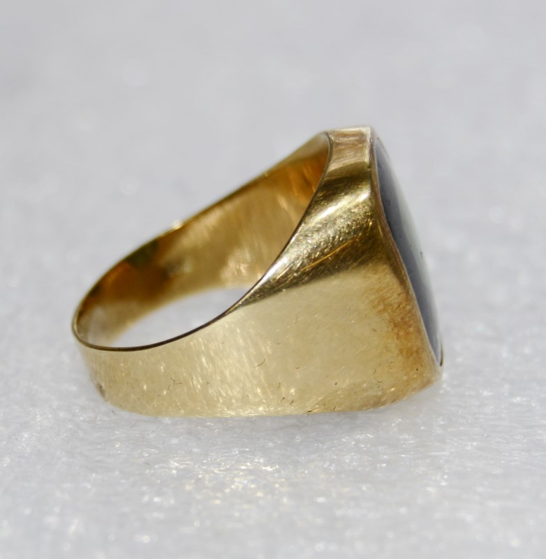 Men's 14K Yellow Gold Full Bezel Flush Set Large Green Tourmaline Ring Size 10