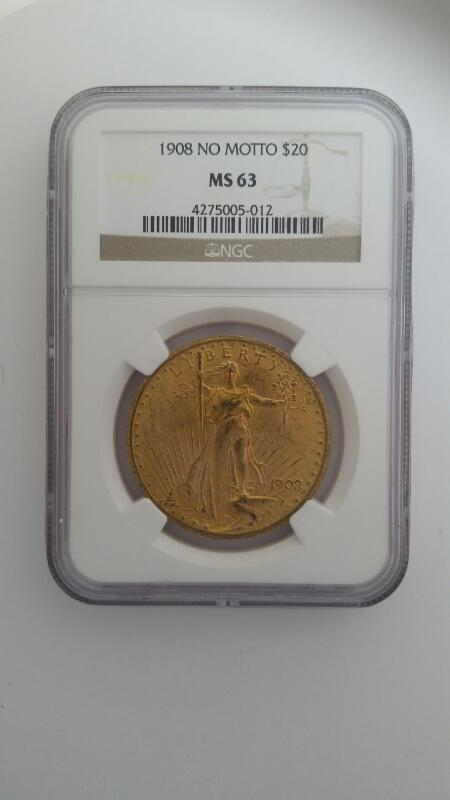 1908 ST GAUDENS GOLD DOUBLE EAGLE COIN NO MOTTO NGC GRADED MS 63 20$