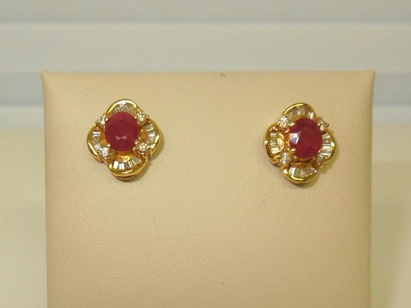 Synthetic Ruby Gold-Diamond & Stone Earrings 44 Diamonds .260 Carat T.W.