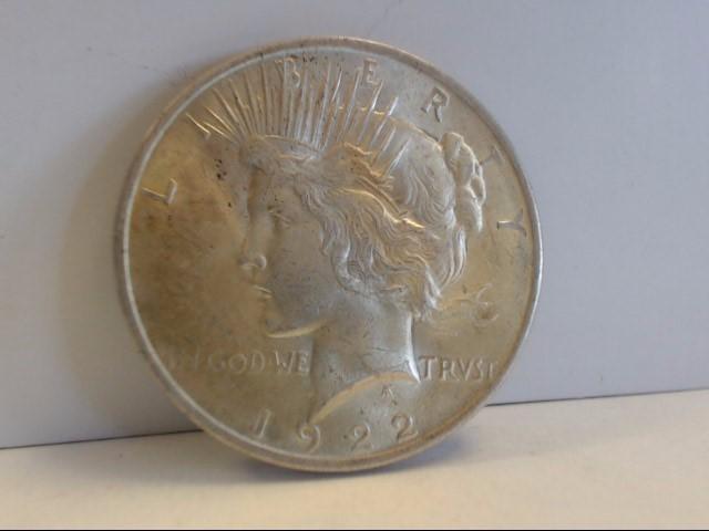 1922 Peace Dollar $1 Coin NO MINT MARK 90% Silver (Natural Patina)