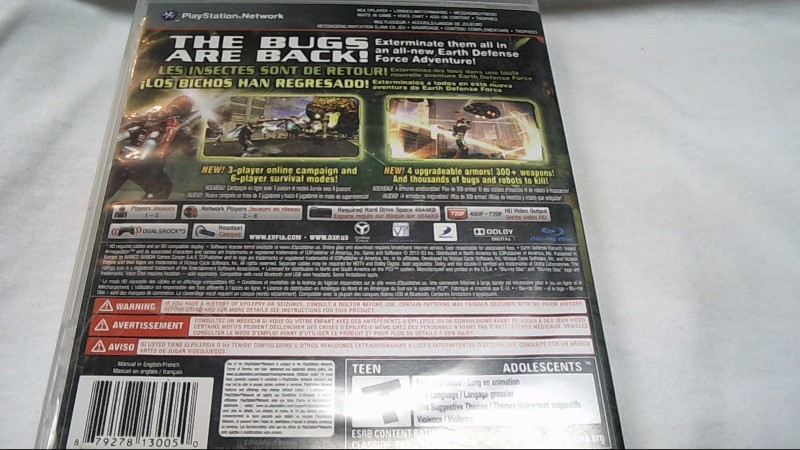 Sony PlayStation 3 Game EARTH DEFENSE FORCE INSECT ARMAGEDDON