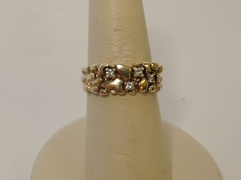 Gent's Diamond Fashion Ring 4 Diamonds .12 Carat T.W. 10K Yellow Gold 4.9g