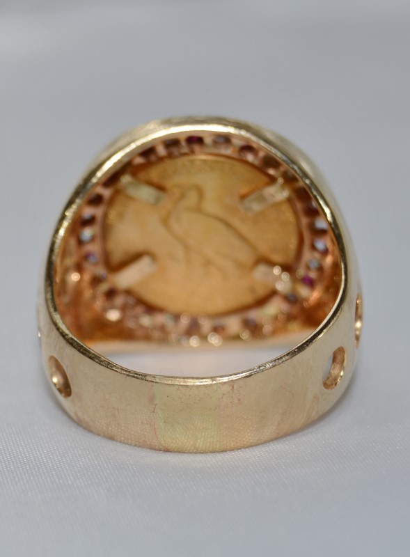 Us Gold Coin Ring w/ Eagle Indian Head Size 14
