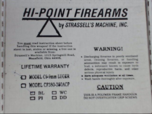 HI-POINT - C9 - 9MM