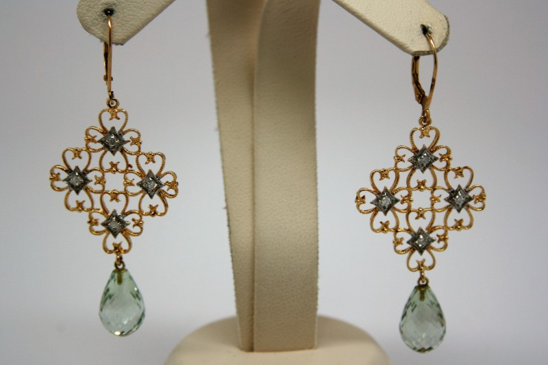 DANGLE STYLE DIAMOND AND TEAL STONE EARRINGS 14K YELLOW GOLD