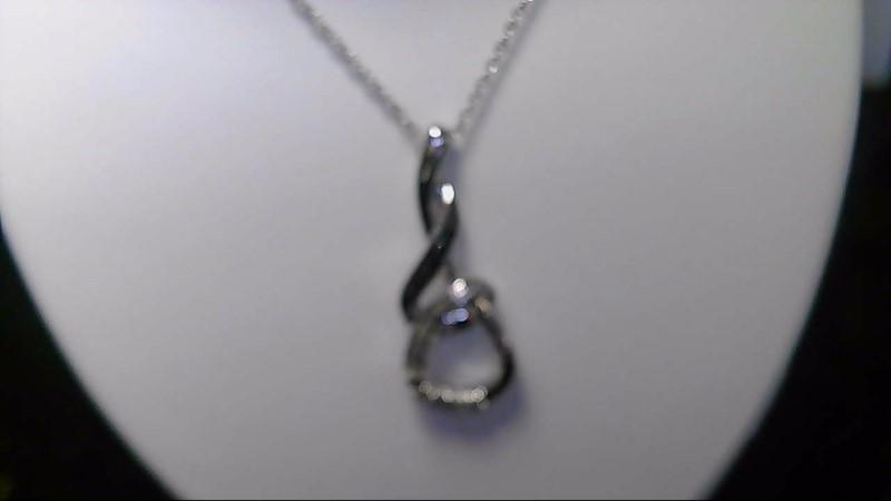 lady's sterling silver 925 wht blk diamond necklace