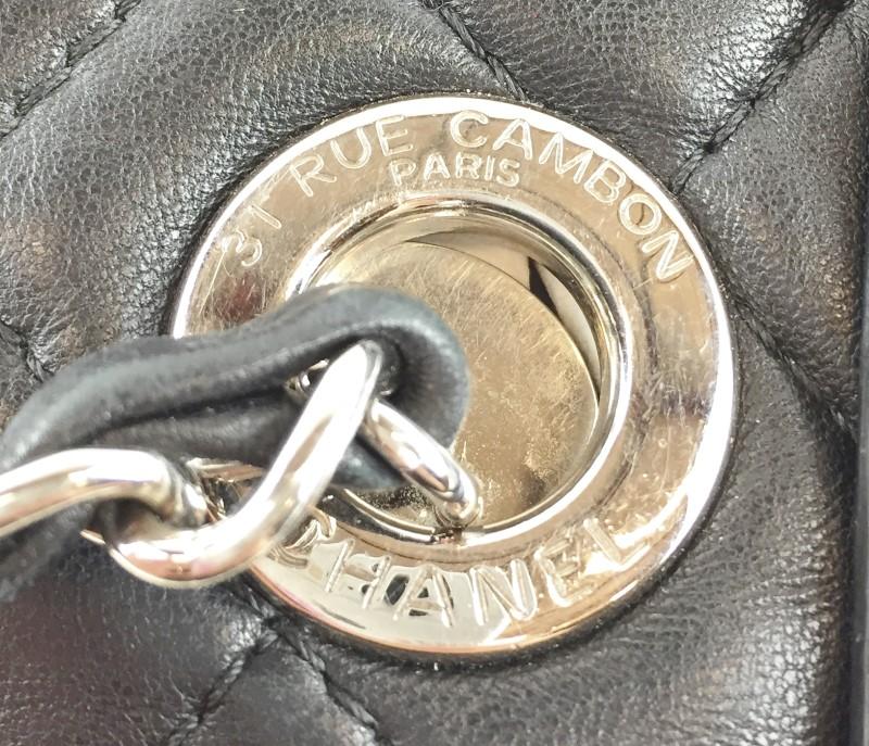 CHANEL QUILTED BLK LAMBSKIN SHOULDER BAG