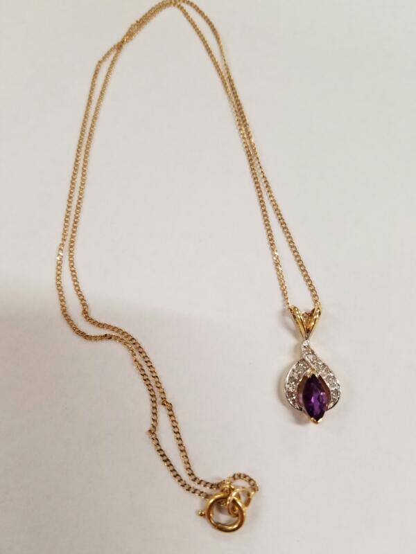 Diamond Necklace 8 Diamonds .16 Carat T.W. 14K Yellow Gold 3g