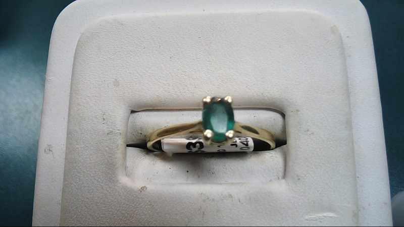 Synthetic Agate Lady's Stone Ring 10K Yellow Gold 1.35g Size:8