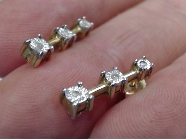 Gold-Diamond Earrings 6 Diamonds .06 Carat T.W. 14K Yellow Gold 1.1dwt