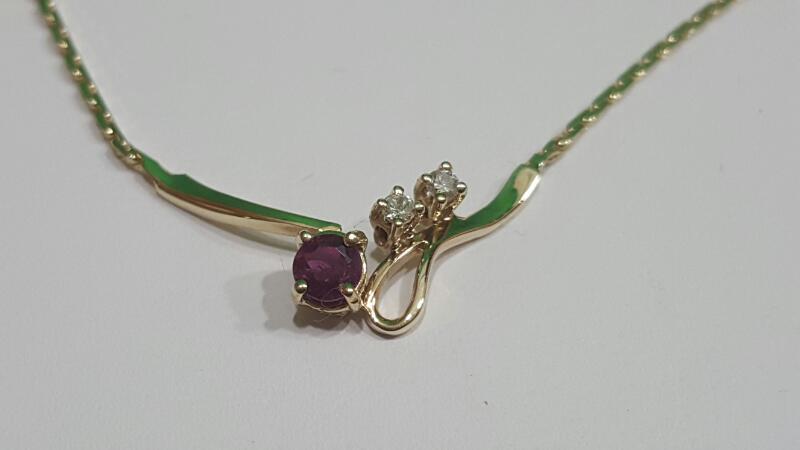 """16"""" Ruby Diamond & Stone Necklace 2 Diamonds .06 Carat T.W."""
