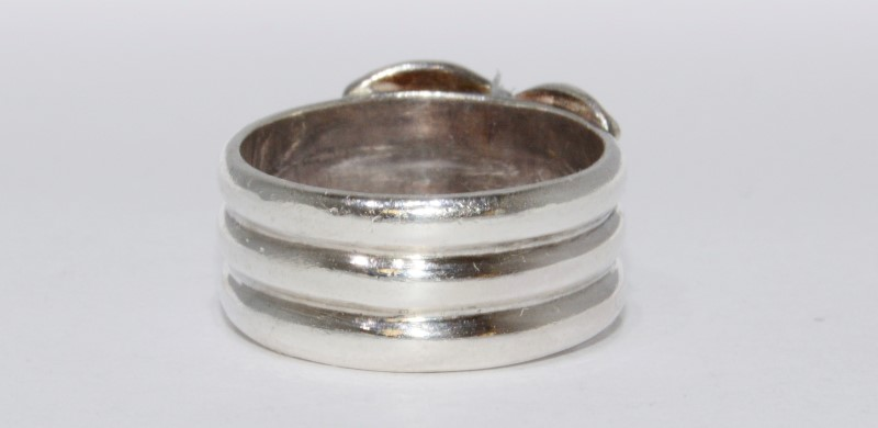 "Sterling Silver .950 LM Triple Banded Ribbon ""X"" Thick Ring Size 7.5"