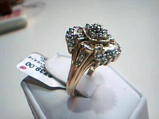 Lady's Diamond Cluster Ring 52 Diamonds 1.04 Carat T.W. 10K Yellow Gold 6.1g