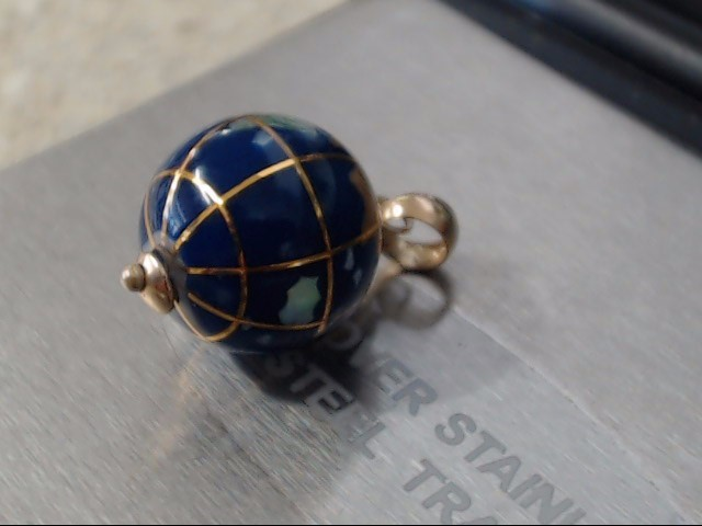 Blue Stone Gold-Stone Pendant 10K Yellow Gold 1.4g
