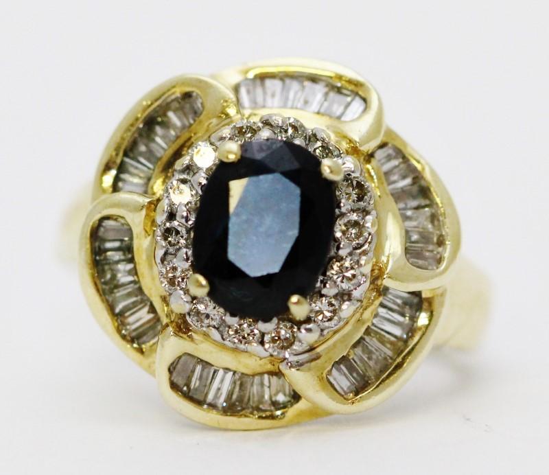 14K Yellow Gold Sapphire & Diamond Floral Inspired Flower Ring sz 7.5