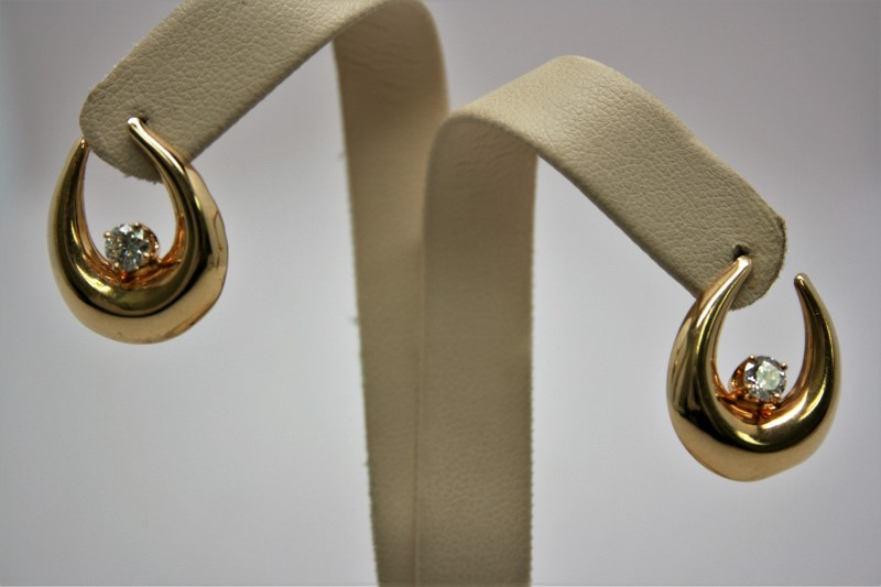 DIAMOND FASHION EARRINGS 14K YELLOW GOLD