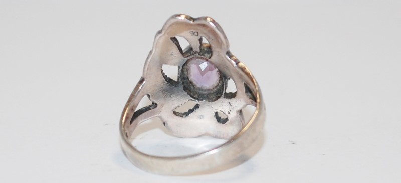 Women's Vintage Inspired Sterling Silver & Amethyst Cocktail Ring Size 8