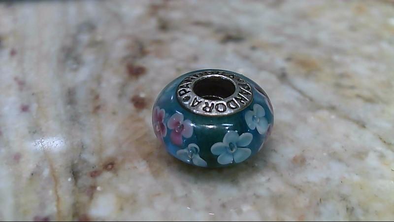 Pandora Blue Pink Flower Murano Glass Charm Bead #48074 ALE 925