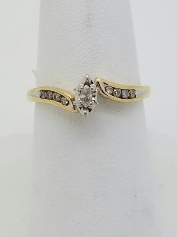 Lady's Diamond Engagement Ring 9 Diamonds .24 Carat T.W. 10K Yellow Gold 1.3dwt