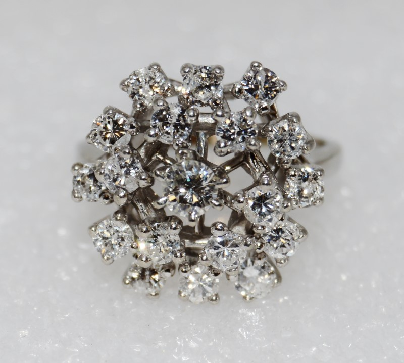 """14K White Gold Round Diamond Dome Cluster Ring """"The Snowball"""" Size 8"""