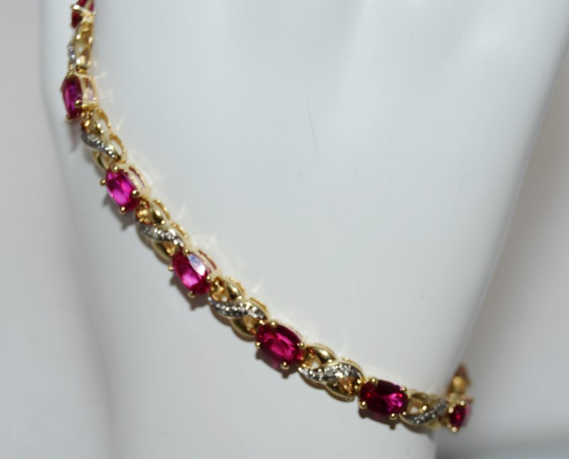 10K Yellow Gold X & O Style Diamond & Ruby Tennis Bracelet 7""