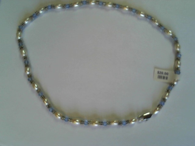 """PEARLS, BLUE BEAD NECKLACE 16"""" 7X6MM OVAL PEARLS 175CTW"""