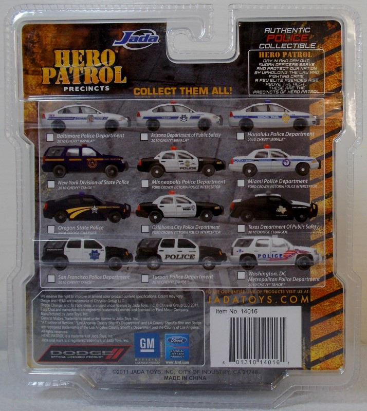 JADA TOYS: HERO PATROL PRECINCTS, AUTHENTIC POLICE COLLECTIBLE, 6 CARS ONLY