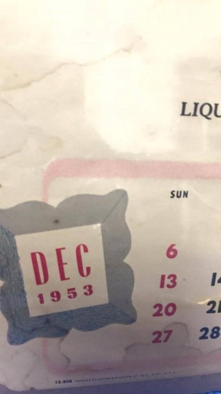 DECEMBER 1953 CALENDAR GIRL BILLS BAR