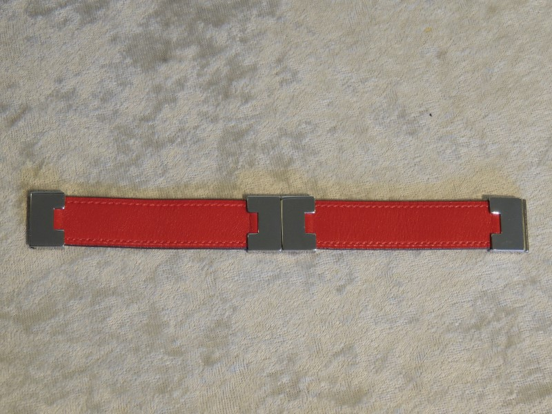 HERMES RED AND TAN REVERSIBLE LEATHER PALLADIUM HARDWARE CUFF BRACELET