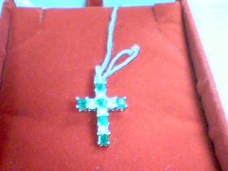 Synthetic Emerald Gold-Diamond & Stone Pendant 10 Diamonds 1.05 Carat T.W.