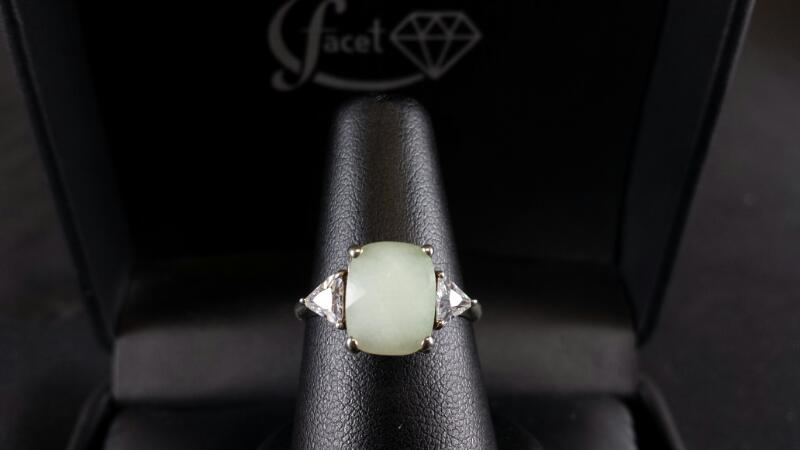Oval Fancy Cut Green Quartz Triangle CZ Lady's Silver Ring 925