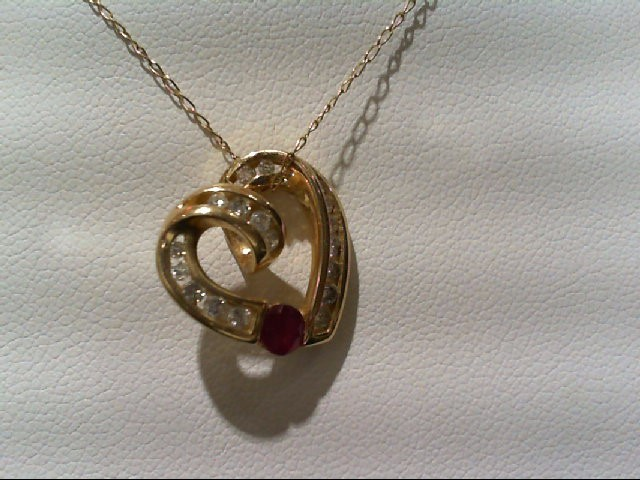 Ruby Gold-Diamond & Stone Pendant 17 Diamonds .31 Carat T.W. 10K Yellow Gold
