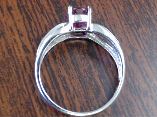 ESTATE OVAL CUT RUBY RED CZ RING SOLID REAL 14K WHITE GOLD SIZE 7