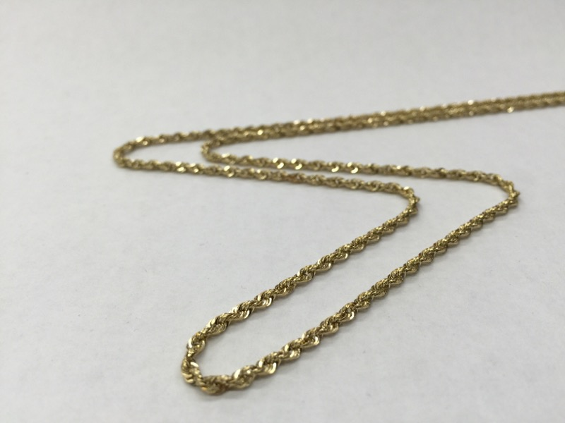 """24.5"""" ROPE Gold Rope Chain 14K Yellow Gold 5.9dwt"""