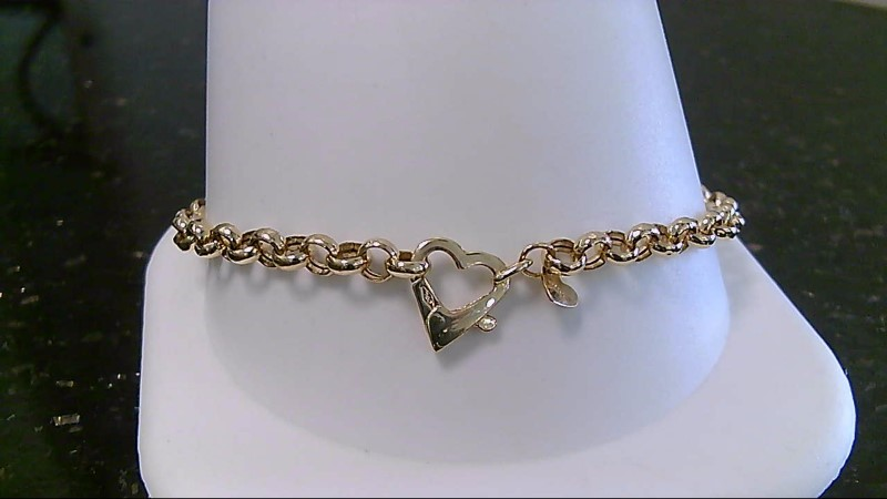 "7.5"" Heart Gold Fashion Bracelet 18K Yellow Gold 4.1g"
