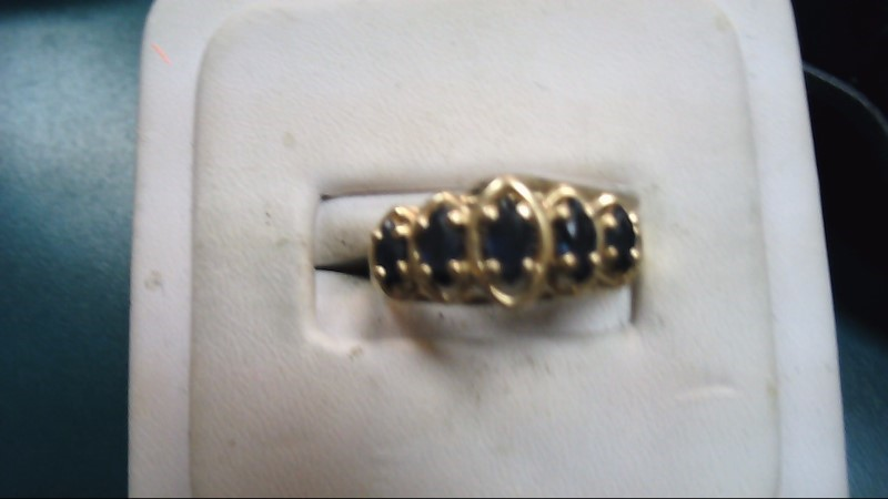 Blue Stone Lady's Stone Ring 10K Yellow Gold 2.5g Size:7