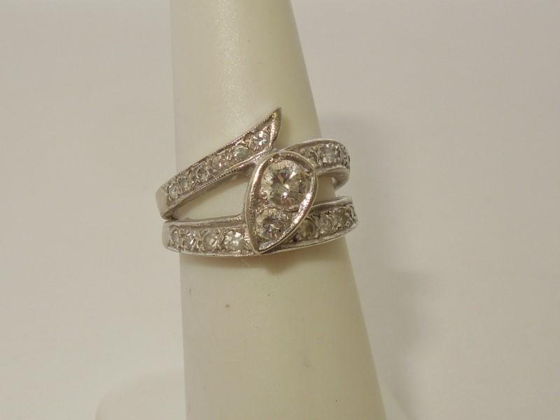 Lady's Gold-Diamond Ring Guard 20 Diamonds .71 Carat T.W. 14K White Gold 6.3g