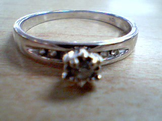 Lady's Diamond Engagement Ring 7 Diamonds .11 Carat T.W. 10K White Gold 2.2g